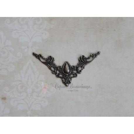 Металлический ажурный треугольник, цвет античная бронза, 40*57мм, 1шт