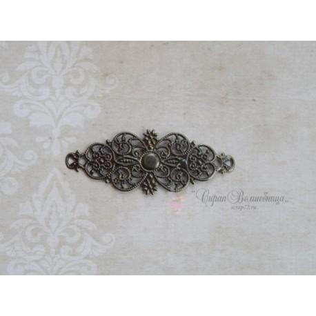 Филигрань Цветок, античная бронза, 24*61мм, 1шт