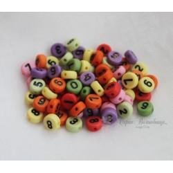 """Бусины """"Циферки"""" разноцветный микс, 7мм, 10 штук"""