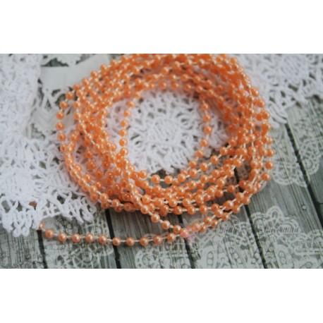 Жемчужная нить, 3мм, цвет персик, 1м