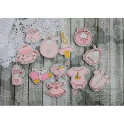 """Набор деревянных фигурок с клеевым слоем """"Детские вещички"""", цвет розовый, 12шт"""