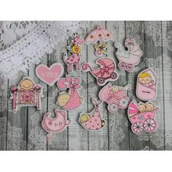 """Набор деревянных фигурок с клеевым слоем """"Детки"""", цвет розовый, 12шт"""