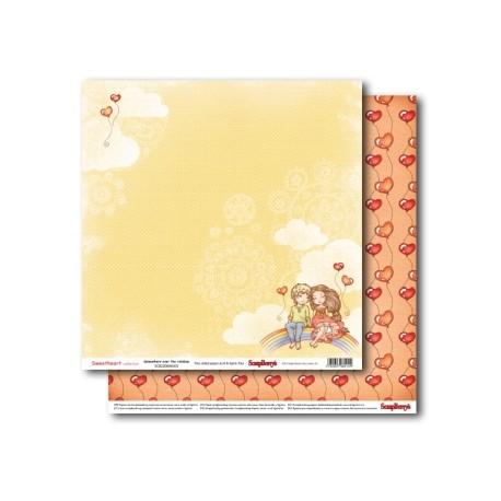 Бумага для скрапбукинга 30,5х30,5 см 190 гр/м двусторон Мальчик и девочка Верхом на Радуге