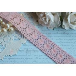 Тесьма кружевная, хлопок, 2 см розовая, 1м