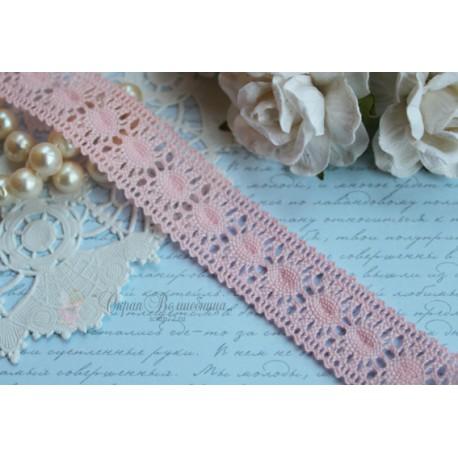Тесьма кружевная П/Э 2 см розовая, 1м