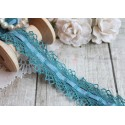 Тесьма кружевная со сборкой П/Э 3 см синяя, 1м
