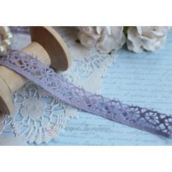 Тесьма кружевная хлопок 1,5 см фиолетовая, 1м