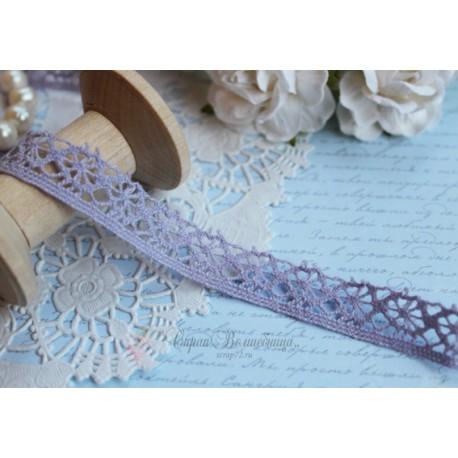 Тесьма кружевная П/Э 1,5 см фиолетовая, 1м