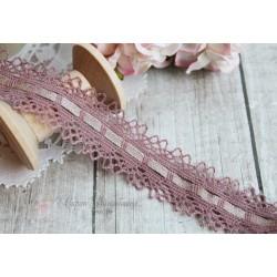 Тесьма кружевная П/Э 1,7 см серо-розовая, 1м