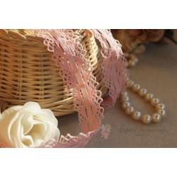 Тесьма кружевная со сборкой П/Э 3 см розовая, 1м