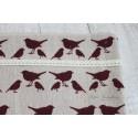 Ткань Бордовые птички, лен, 50*75см.