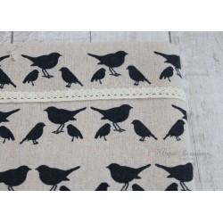 Ткань Синие птички, лен, 50*75см.