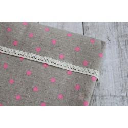 Ткань Розовый горох, лен, 50*75см.