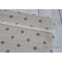 Ткань Коричневые ромашки, лен, 50*75см.