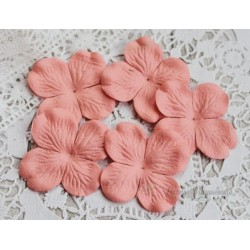 Цветы гортензии, цвет коралловый, 50мм, 10 цветочков