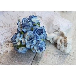Дикая роза, цвет голубой с темной окантовкой, 3см, 1шт