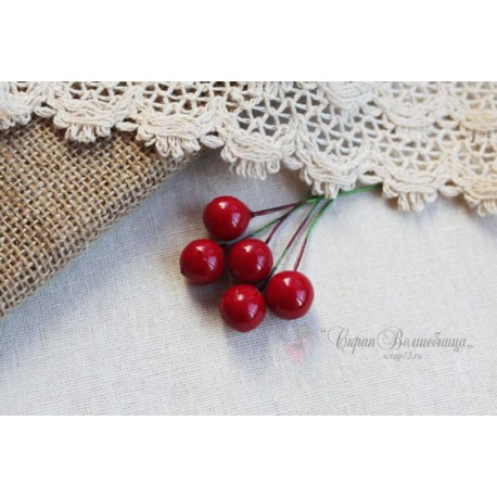Красная ягодка на палочке, 1шт.