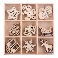 """Декоративные элементы из дерева """"Новогодние мотивы"""", 45шт"""