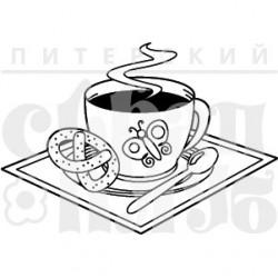 """ФП штамп """"Кофе с крендельком"""" (м), 3.4х2.7см"""