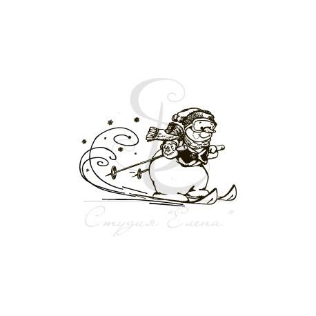 "ФП штамп ""Снеговик на лыжах"" (s), 8х4.3см"
