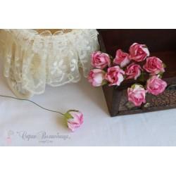 Полуоткрытый бутон розы, розовый, 2*2см, 1 шт.