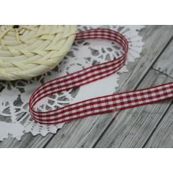 Тесьма декоративная Клетка, цвет красный/белый, 10мм, 1м