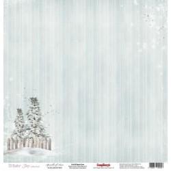 Бумага для скрапбукинга 30,5х30,5 см 180 гр/м одностор Зимнее Утро Снежный Лес, 1 лист