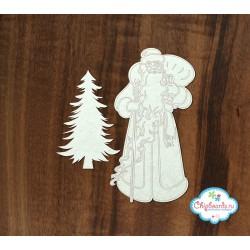 Чипборд Дед мороз с елкой