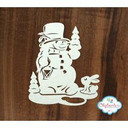Чипборд Снеговик с зайчиком, 7.5*6.4см