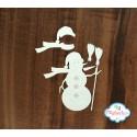 Чипборд Снеговик с метлой, 5.5*5см