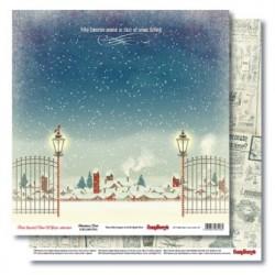 Бумага для скрапбукинга 30,5х30,5 см 190 гр/м двусторон С Рождеством! А снег идет(1шт)