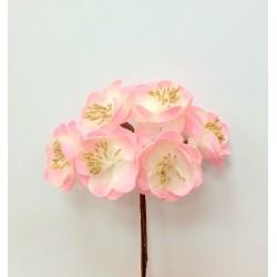Декоративный букет. Ткан. цветочки (6 бутонов, диа - 3,5см каждый) выс - 11см (ярко-роз, белый)