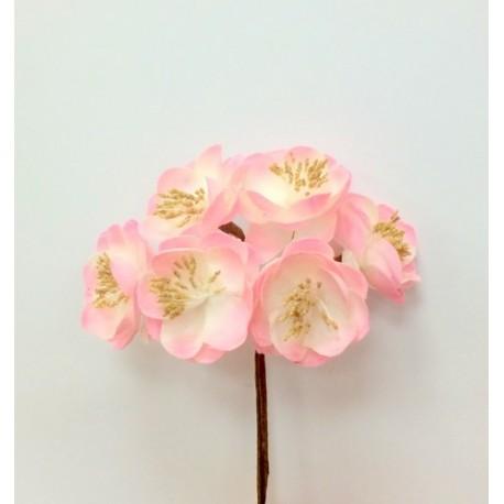 Декоративный букет. Ткан. цветочки (6 бутонов, диа - 3,5см каждый) выс - 11см (ярко-роз, белый) HY03