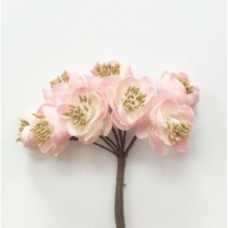 Декоративный букет. Ткан. цветочки (8 бутонов, диа - 2см каждый) выс - 11см (роз- белый) HY0301015