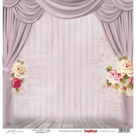Бумага для скрапбукинга 30,5х30,5 см 190 гр/м, односторон Джульетта Сцена, 1 лист