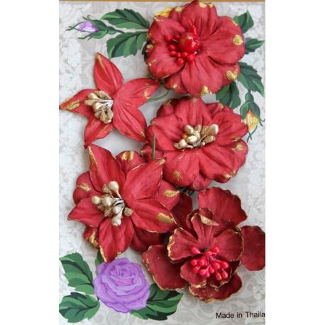 Набор пуансетий, 5см, цвет красный, 5шт.