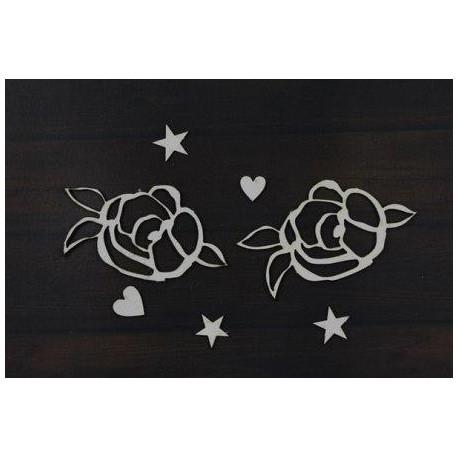 Набор чипборда «Summer Love» 2 цветочка, 2 сердечка, 3 звездочки
