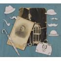 Набор чипборда «Дневники памяти» Усы (3), шляпы (3), очки, трубка, зонт
