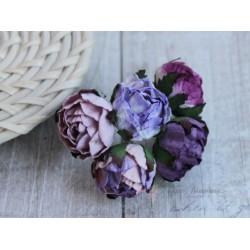 Букетик английских роз, лиловые тона, 30мм, 5 цветочков