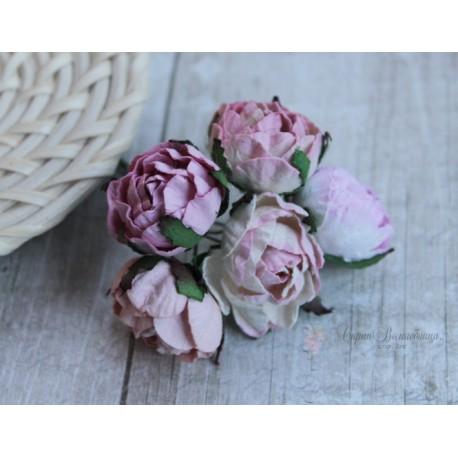 Букетик английских роз, розовые тона, 30мм, 5 цветочков