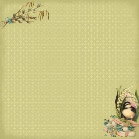 Бумага для скрапбукинга 30,5х30,5 см 180 гр/м двусторон Весенний Праздник Верба