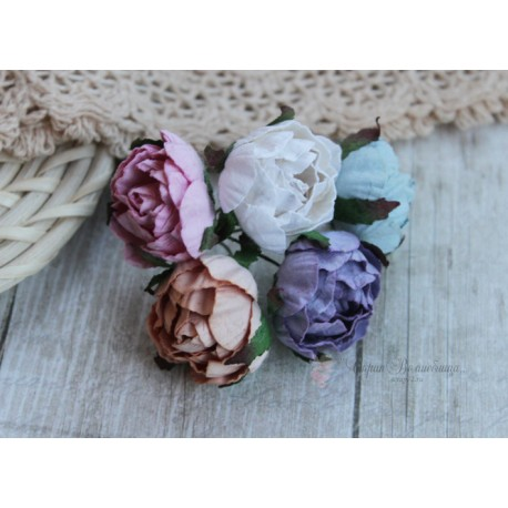Букетик английских роз, цветной микс, 30мм, 5 цветочков