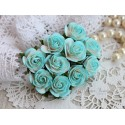 Роза Мальбери, цвет белый с бирюзой, 25 мм, 1 цветок