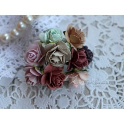Букет роз Мальбери Винтажный микс, 10 розочек разных цветов