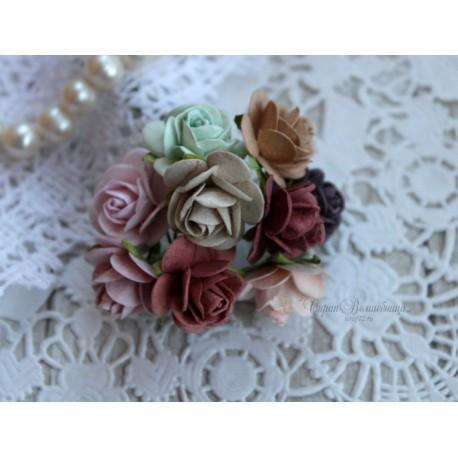 Букет роз Мальбери Винтажный микс, 20мм, 10 розочек разных цветов