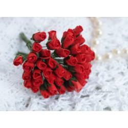 Розы в бутонах, цвет красный, 6мм, 1 бутон.