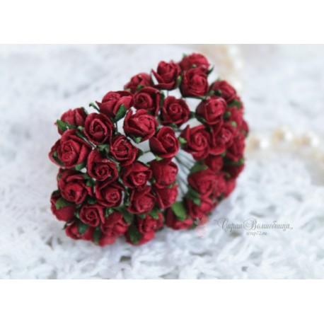 Розы в бутонах, цвет красный, 8мм, 1 бутон.