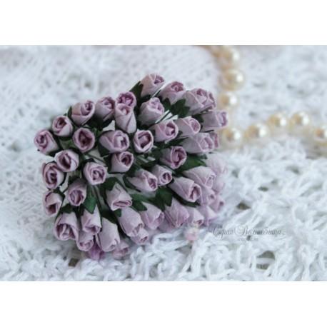 Розы в бутонах, 6мм, цвет лиловый, 6мм, 1 бутон.