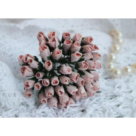 Розы в бутонах, 6мм, цвет нежно-розовый, 6мм, 1 бутон.