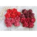 Букетик коттеджных роз, оттенки красного, 25мм, 4 розочки разного цвета